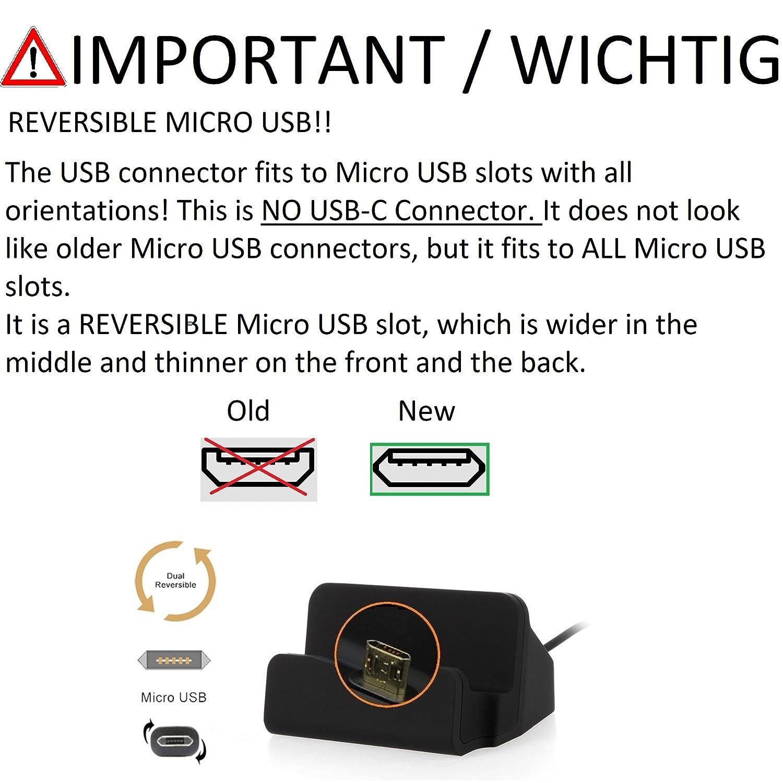 schwarz Kabel zum Laden und Synchronisieren K-S-Trade Dockingstation f/ür Aermoo M1 Docking Station Micro USB Tisch Lade Dock Ladeger/ät Charger inkl