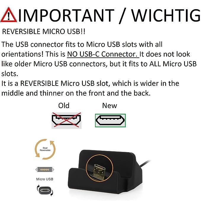 Kabel zum Laden und Synchronisieren K-S-Trade Dockingstation f/ür ZTE Blade L7 Docking Station Micro USB Tisch Lade Dock Ladeger/ät Charger inkl schwarz