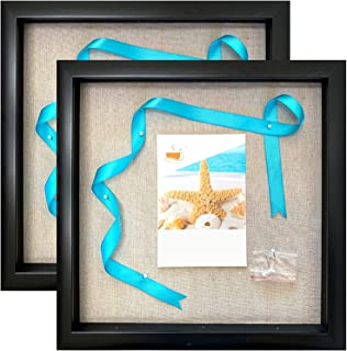 product image for flag connections 12x12 Display Shadow Box Frame (2-Pack) with Linen Background and 16 Stick Pins - Ready to Hang Shadowbox Picture Boxes (Black)