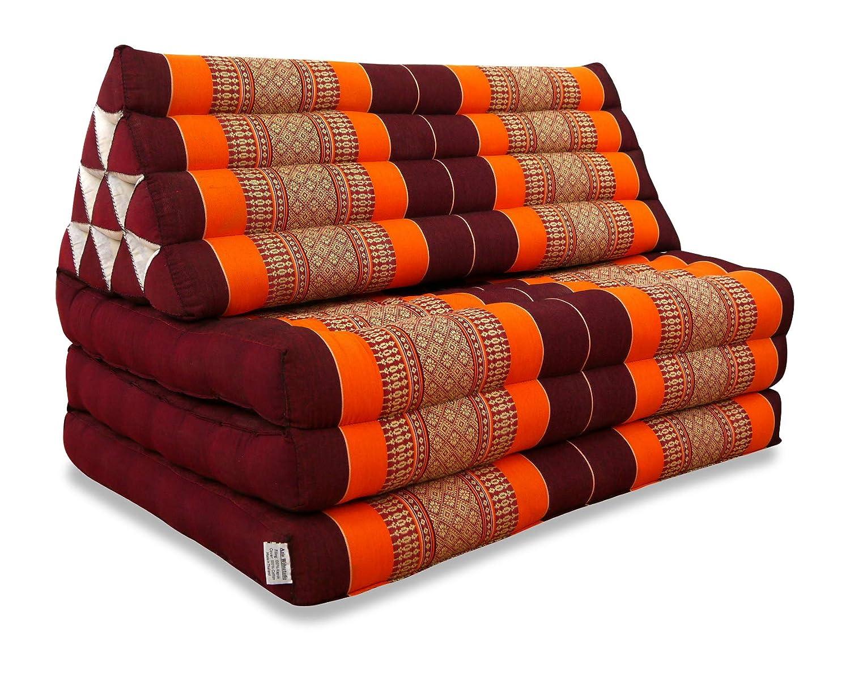 Livasia XXL Thaikissen im Jumbo Format, Thaikissen der Marke Asia Wohnstudio, Dreieckskissen mit 100% Kapokfüllung, Thaimatte, (orange)