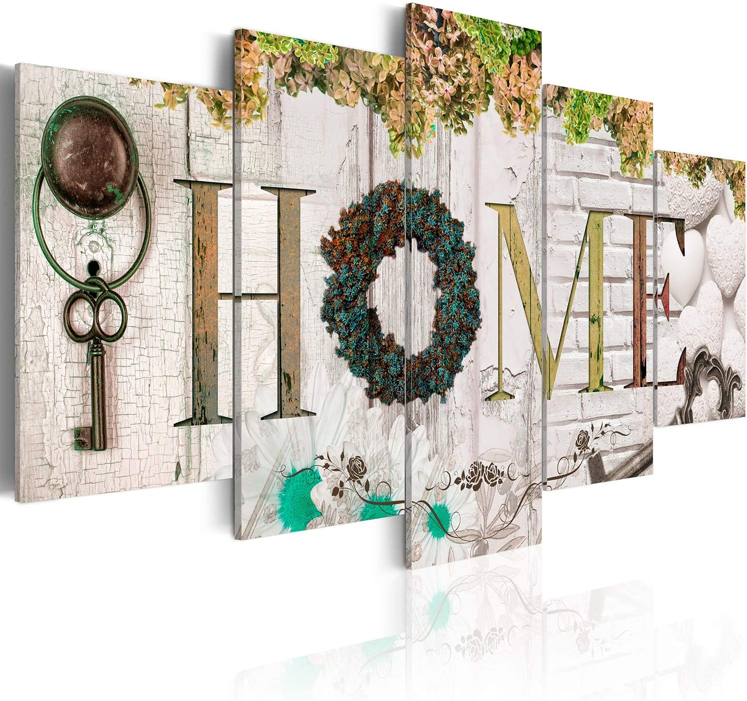 "Biufo 5 Pieces Sweet Home Sign Wall Art Canvas Print Forever Love for Family Painting Pictures Living Room Decorations Flower Artwork, Framed 40"" W x 20"" H"