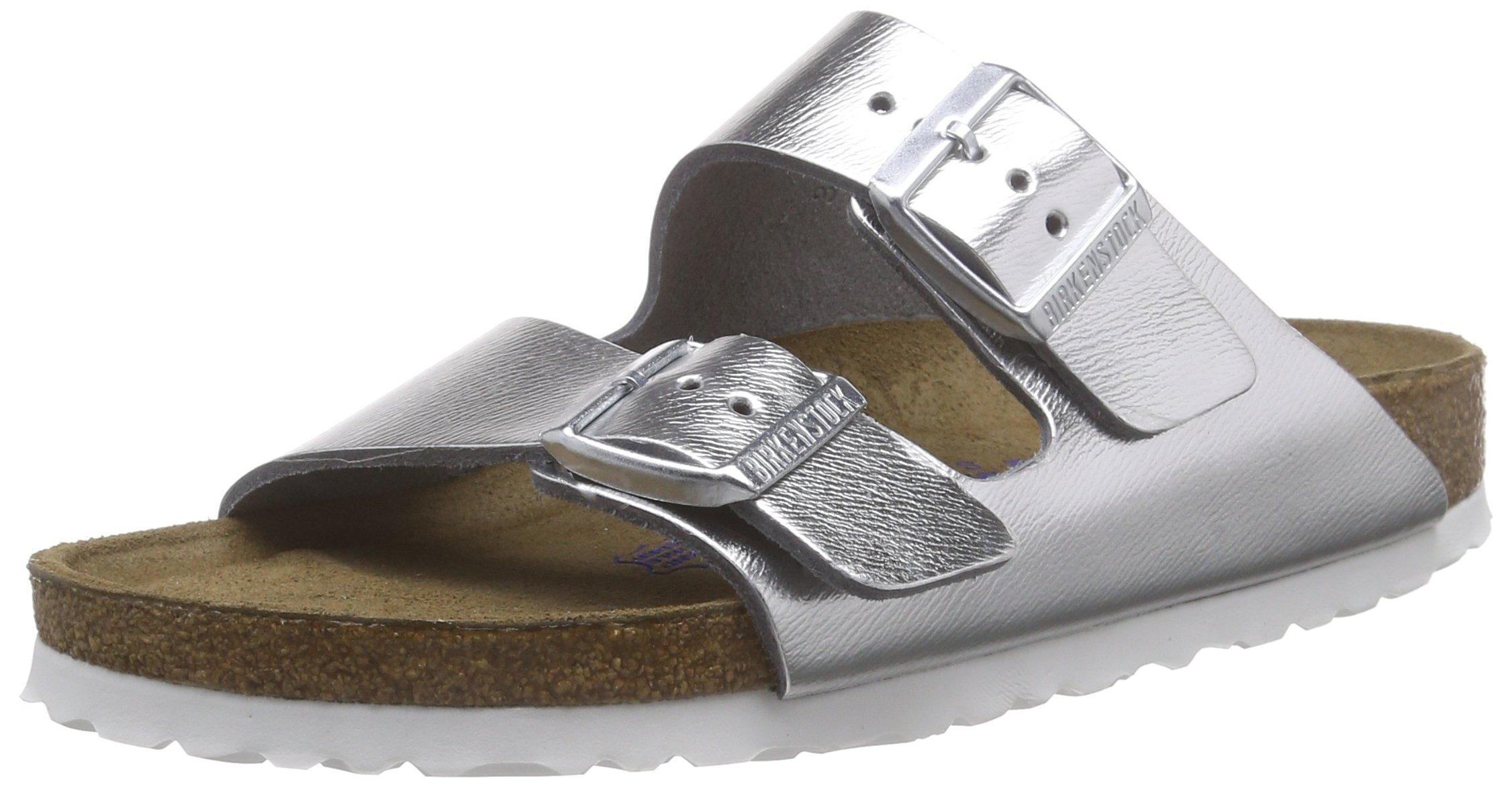 Birkenstock Arizona Narrow Fit - Liquid Silver Leather 1000062 Womens Sandals 37 EU