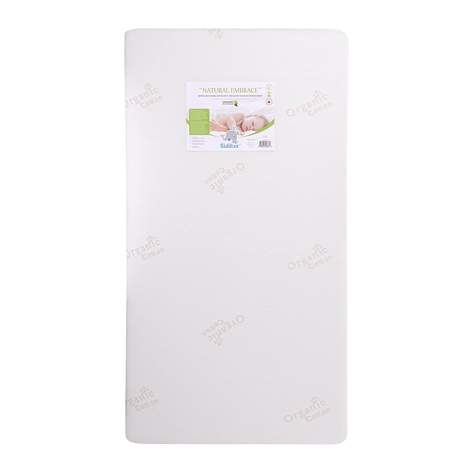 Kidiway 2864 Kidilove Natural Embrace Mattress - Organic Cotton Cover - Polyester Fill