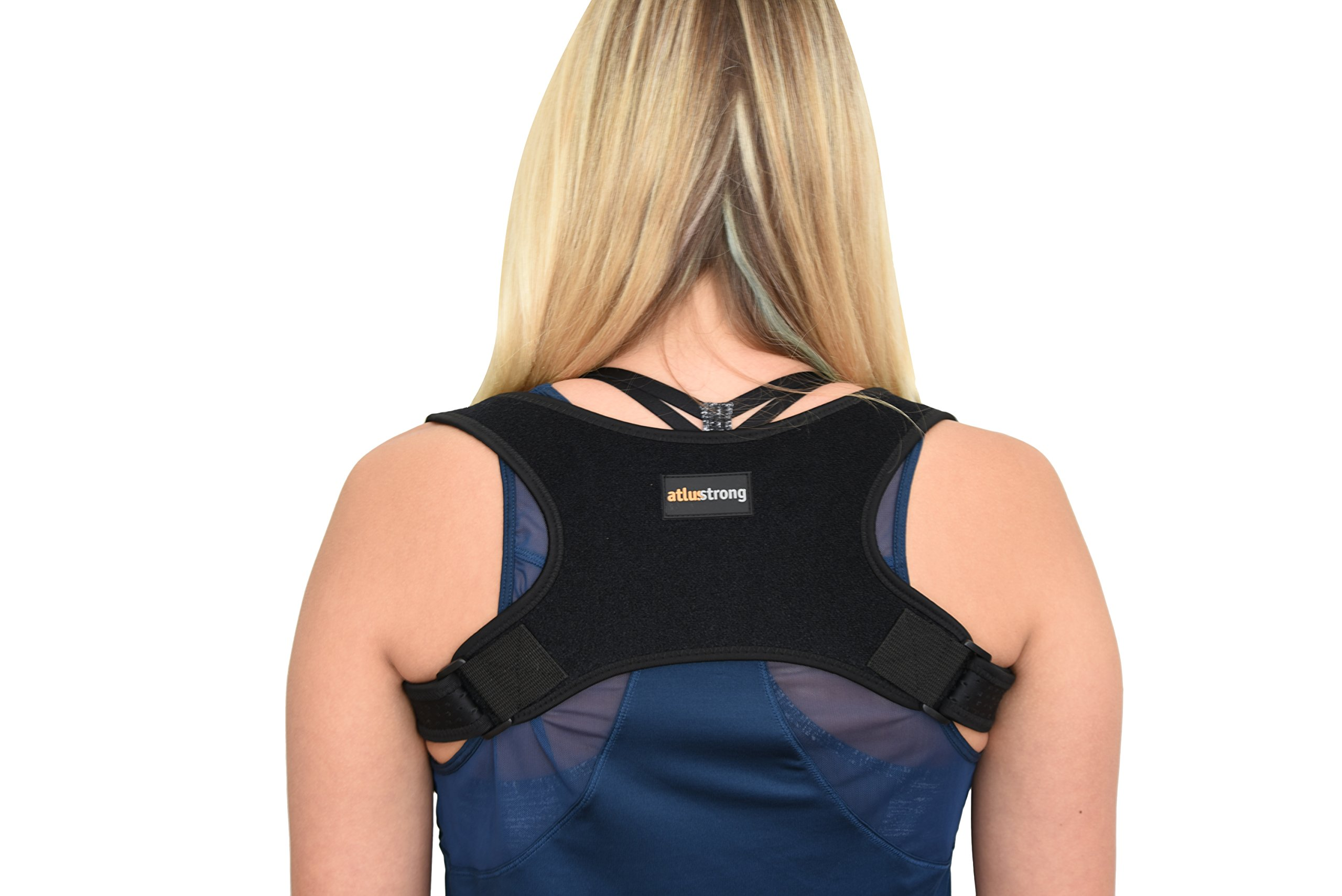 Back Posture Corrector by Atlus Strong - Upper Back and Clavicle Support Brace - Relieves Back and Shoulder Pain - Improves Posture Immediately - Adjustable Size - for Men and Women