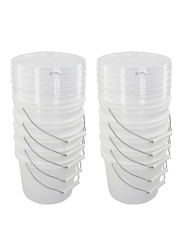 Bucket Kit, Ten 1 Gallon Buckets with White Snap-on Lids