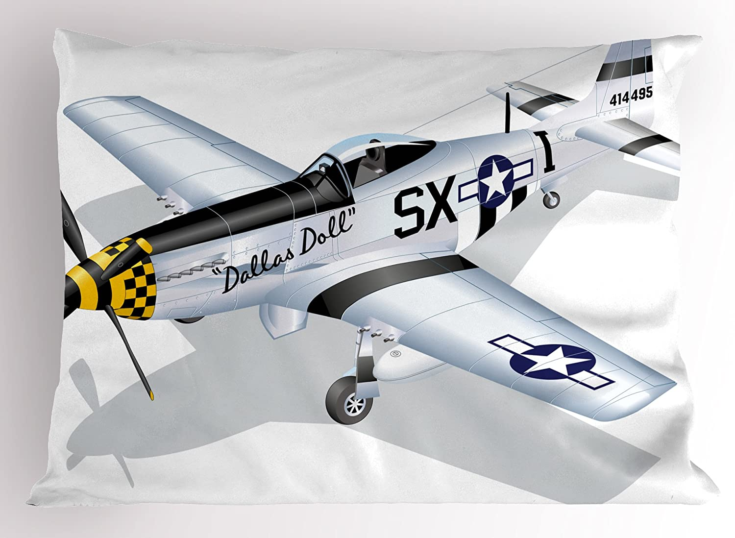 """Ambesonne Vintage Airplane Pillow Sham, P-51 Dallas Doll Detailed Illustration American Air Force Classic Plane, Decorative Standard Size Printed Pillowcase, 26"""" X 20"""", Grey White"""