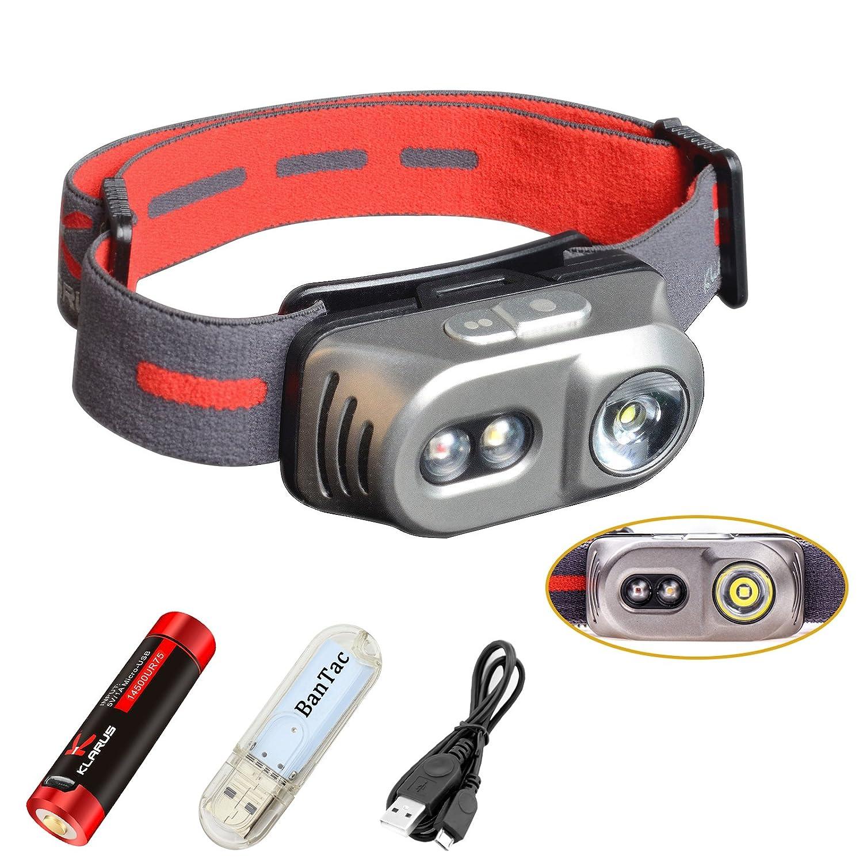 Klarus H1A Stirnlampen 550 Lumen 3 LEDs Drei Lichtquellen Wasserdichte Scheinwerfer, mit 750mah 14500 wiederaufladbare Akku und USB Kable und USB lampe .LTD