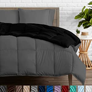 Bare Home Reversible Comforter - Full/Queen - Goose Down Alternative - Ultra-Soft - Premium 1800 Series - Hypoallergenic - All Season Breathable Warmth (Full/Queen, Black/Grey)