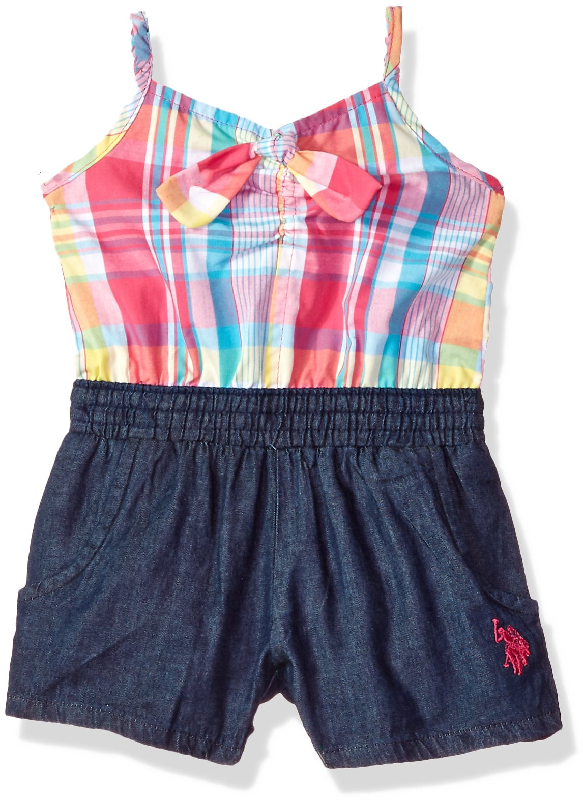 U.S. Polo Assn. Baby Girls, Plaid Denim Knot Tie