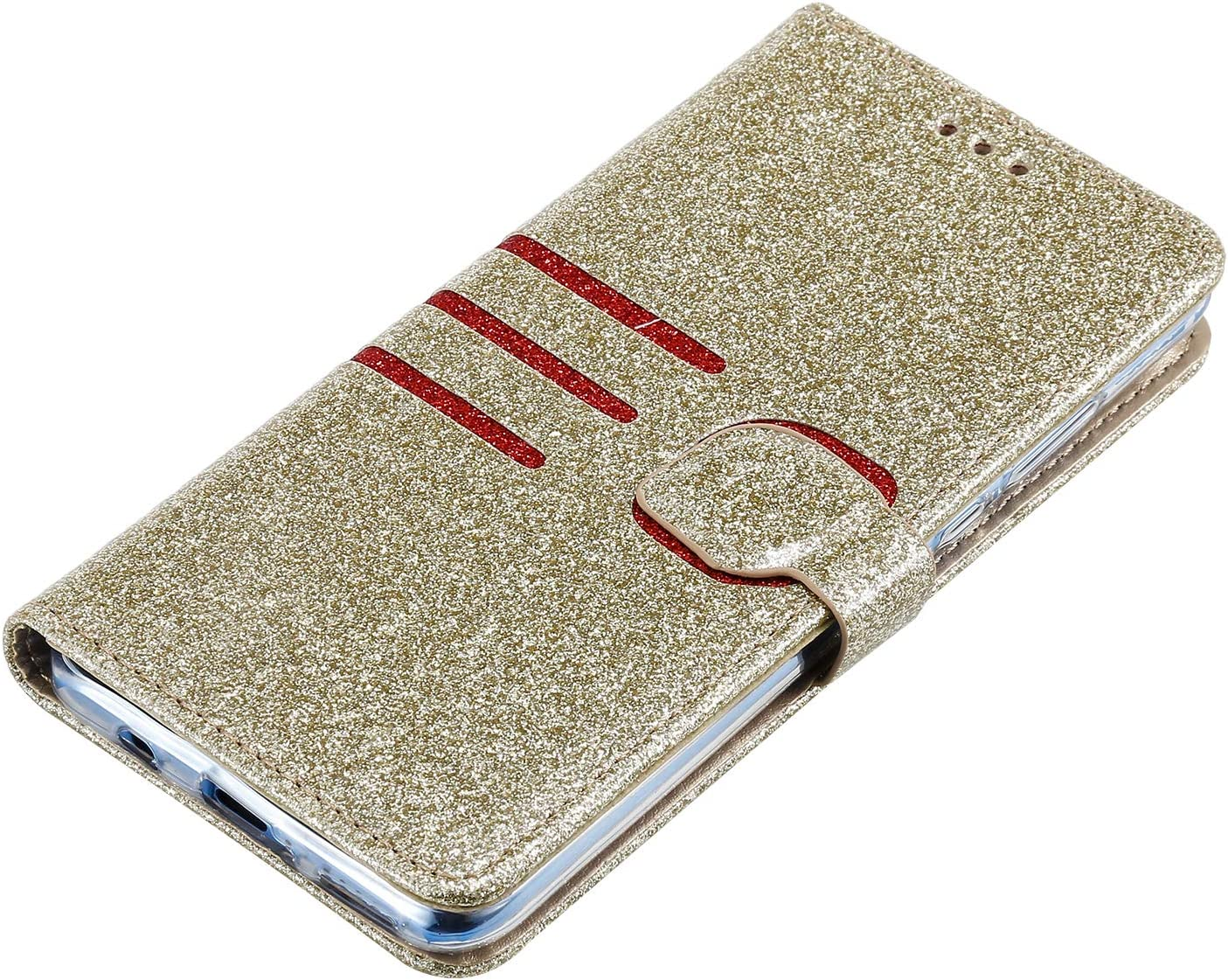 Black Glitter Wallet Case for Huawei P30 Lite with Wrist Strap,QFFUN Luxury Bling Magnetic Closure Folio Stand Feature PU Leather Phone Cases Flip Cover Bumper and Screen Protector