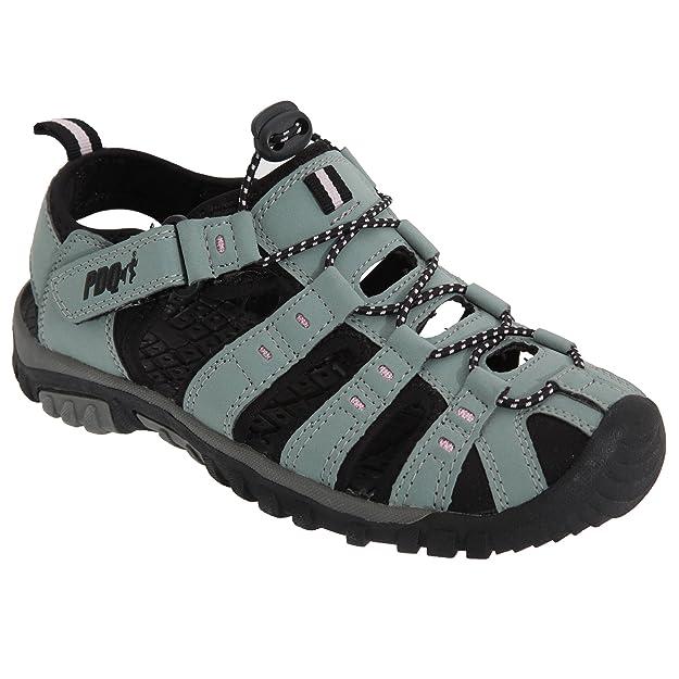 PDQ Damen Trekking-Sandalen von, Knebelknopf und Klettverschluss, Grau - Grau/Jade - Größe: 42
