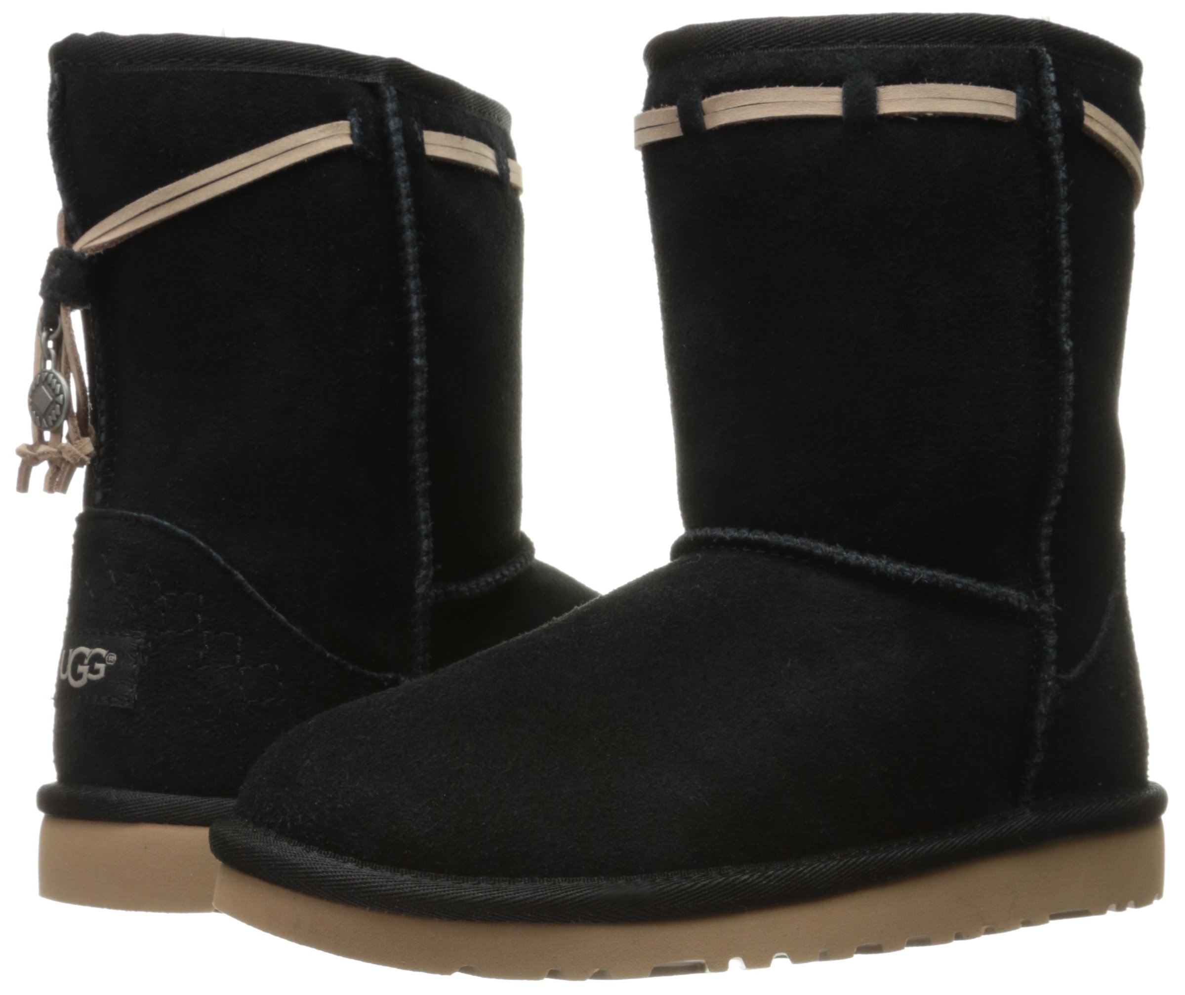 UGG Kids' K Classic Short Carranza Pull-on Boot, Black, 2 M US Little Kid by UGG (Image #6)
