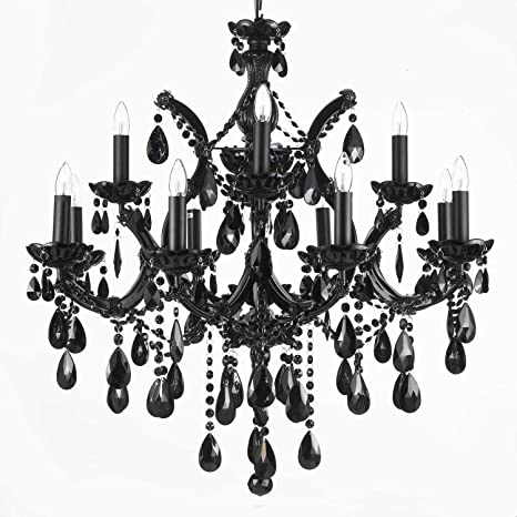 Jet black chandelier crystal lighting 30x28 amazon jet black chandelier crystal lighting 30x28 mozeypictures Image collections