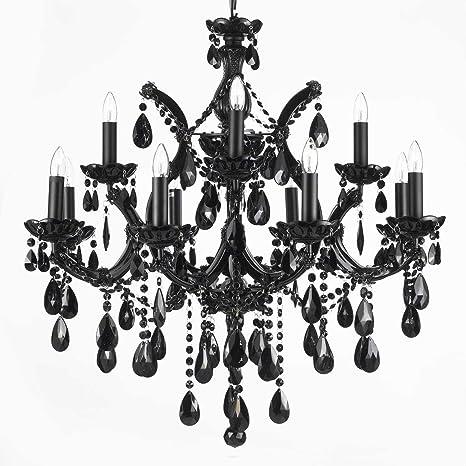 Jet black chandelier crystal lighting 30x28 amazon jet black chandelier crystal lighting 30x28 aloadofball Choice Image