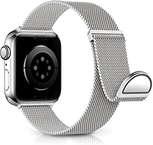 KingofKings Metal Bands Compatible with Apple Watch Band 38mm 40mm 42mm 44mm, Adjustable Magnetic Stainless Steel Mesh Strap Wristband for iWatch Series SE 6 5 4 3 2 1,Women Men