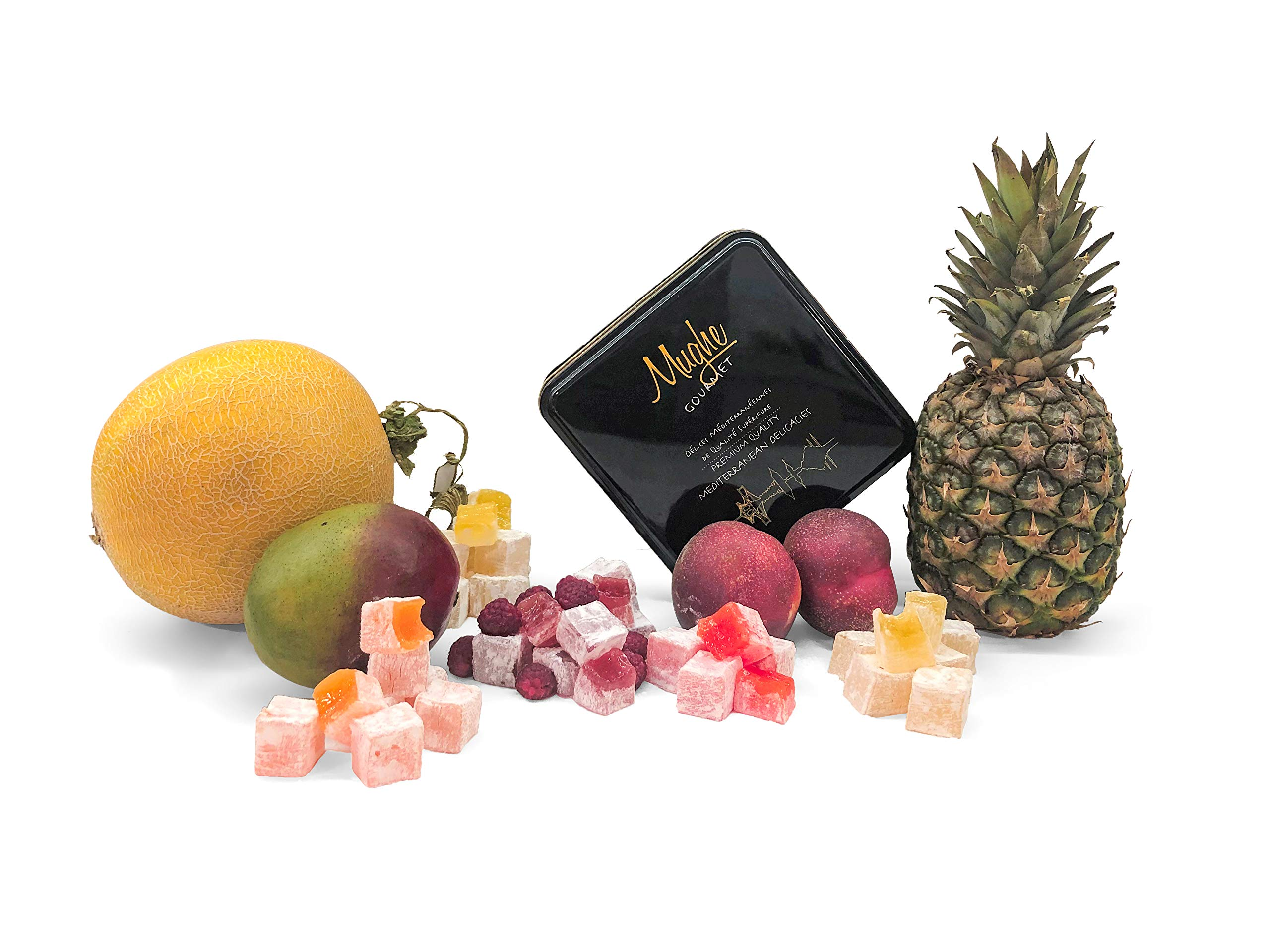 Mughe Mix Plain Turkish Delight Tin Box 1.250 kg (No Nuts) - Tropical Breeze 5 Different Flavors: Mango, Peach, Melon, Pineapple, Raspberry - 100 Pcs Approx. (Gift Basket Tin Box 3 Pounds, 48 Oz)