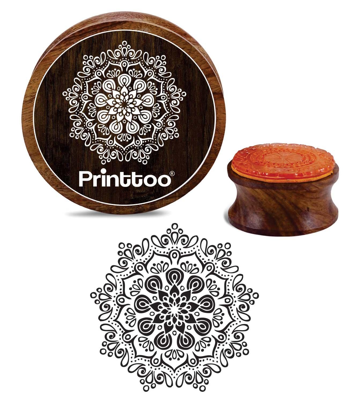 Printtoo Timbro di gomma di legno Mandala Scrap-booking Craft Textile Round Stamp-2 pollici