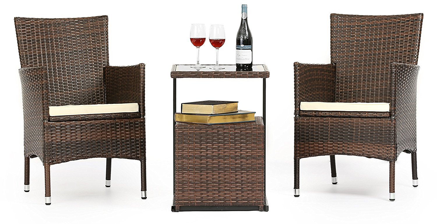 LAHAINA 3 Piece Wicker Bistro Set - All Weather Outdoor Dining Chairs Set of 2 & C Shaped Side Table W/ Portable Storage | Incl. Zippered Seat Cushion & Necessary Tools