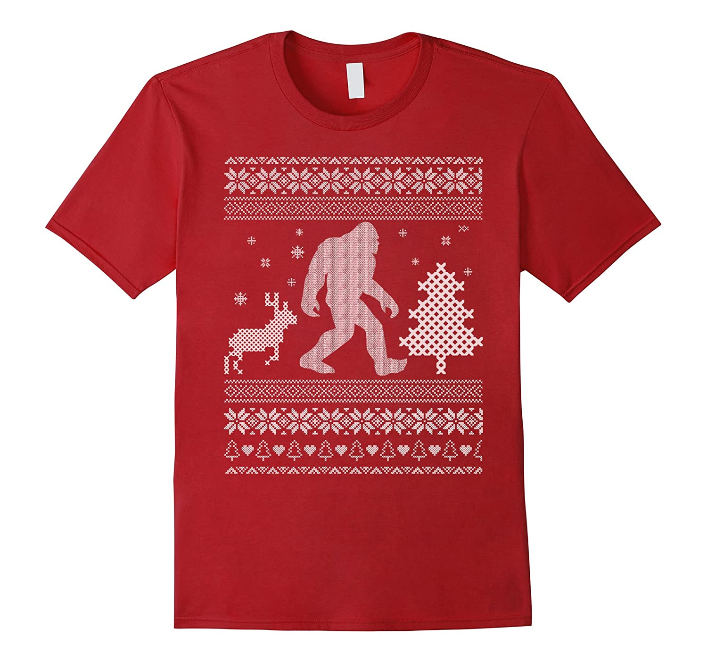 Bigfoot Ugly Christmas Sweater Cross Stitch Effect T-shirt-FL