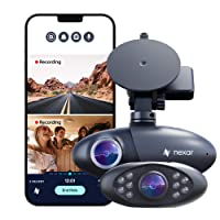 Nexar Pro Dual Dash Cam for Uber & Lyft Drivers | 128 GB | Road & Interior Recording | Parking Mode | SD Card and Unlimited Cloud Storage | WiFi