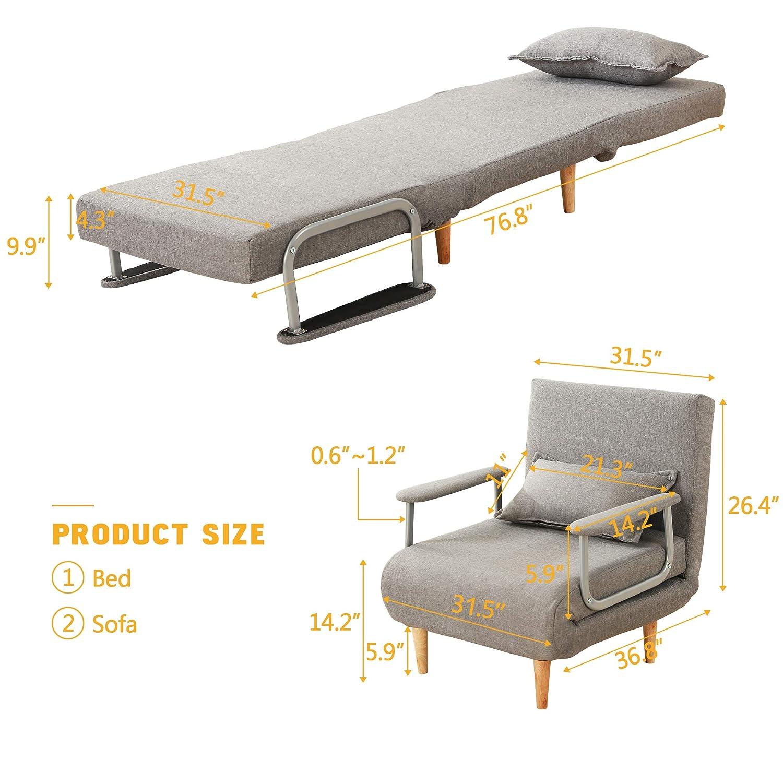 Amazon.com: Windaze Sofá plegable con colchón de espuma ...