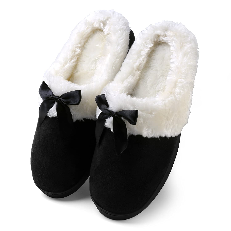 5be4b229eb8c2 Amazon.com | Aerusi Women's Suede Plush Bow Close Toe Memory Foam Indoor  Slip On Clog Slipper Bedroom Indoor House Scuff Shoes | Slippers