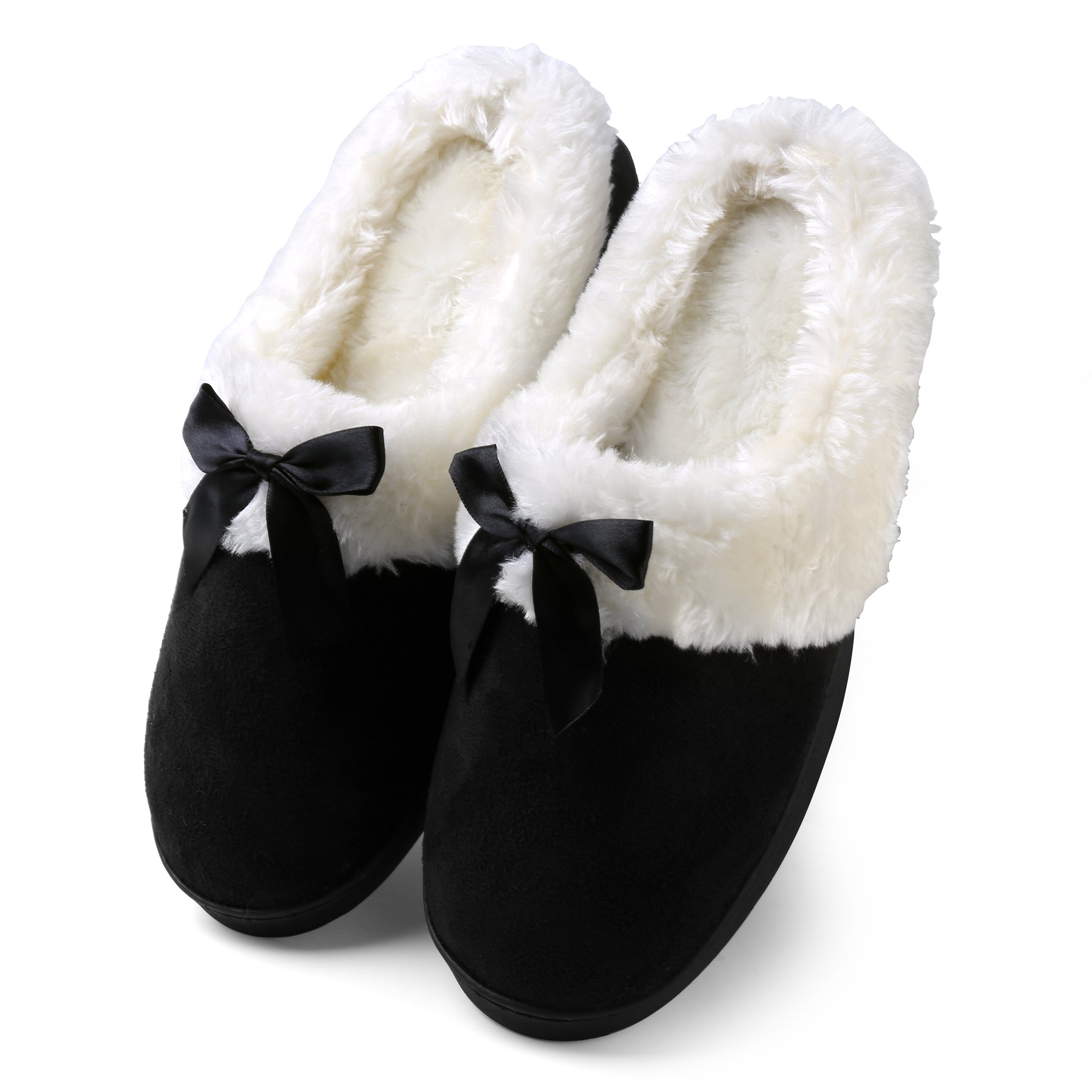 Aerusi Women's Suede Plush Bow Close Toe Memory Foam Indoor Slip On Clog Slipper Bedroom Indoor House Scuff Shoes (Size 8, Black)