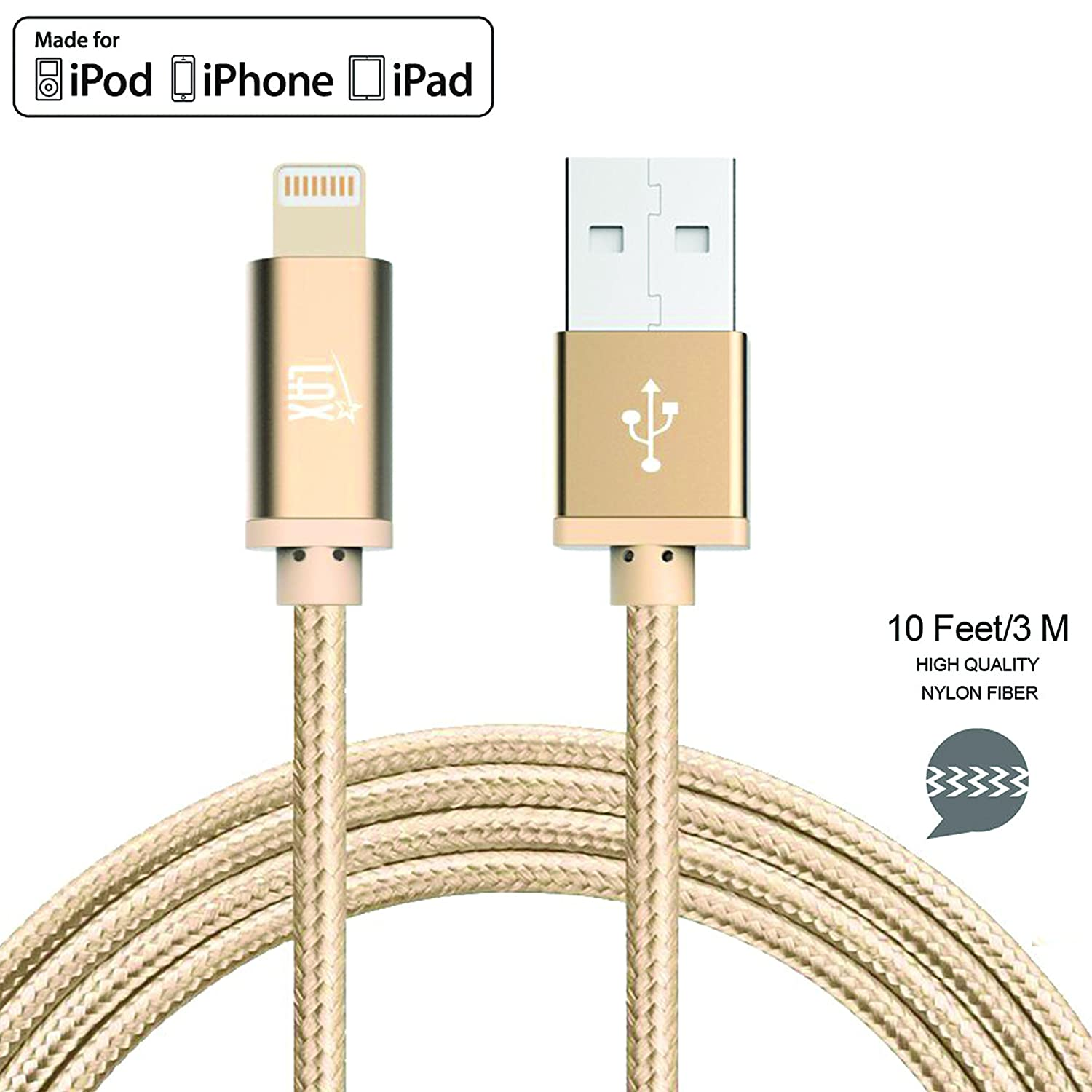 Iphone Charger Cable 10 Foot Mfi Certified Durable Ipod Usb Wiring Diagram Braided Apple Lightning Cord Compatible With X 8 Plus 7 Ipad Pro