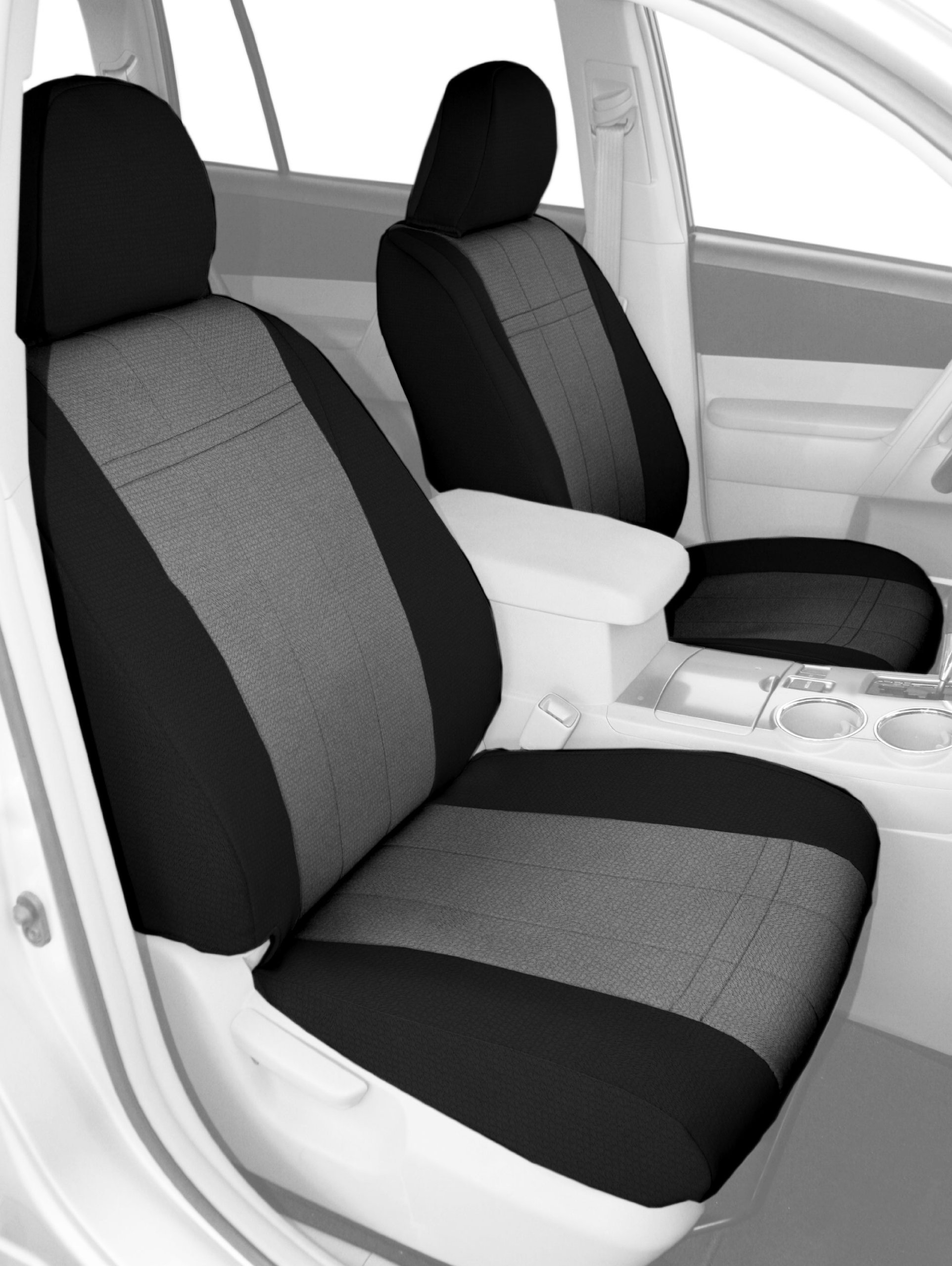 CalTrend Front Row Bucket Custom Fit Seat Cover for Select Dodge RAM Models - SportsTex (Light Grey Insert with Black Trim)