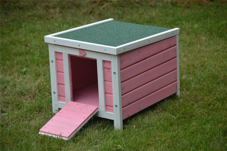 BUNNY BUSINESS - Casa de Madera para Gatos, Cachorros, Conejos, cobayas, 51 x 44 x 42 cm, Color Rosa: Amazon.es: Productos para mascotas