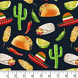 Tacos in The Desert Cotton Fabric by The Yard, Precut 1 Yard Pieces