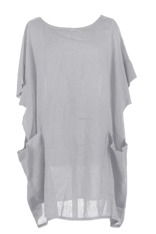TEXTURE Ladies Womens Italian Lagenlook Plain 2 Oversized Pocket Linen Kaftan Tunic Top Blouse One Size Plus