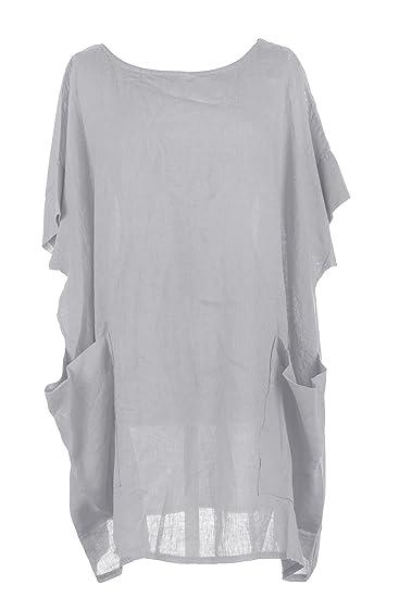 73d7049e6e4 TEXTURE Ladies Womens Italian Lagenlook Plain 2 Oversized Pocket Linen  Kaftan Tunic Top Blouse One Size Plus (Light Grey, One Size): Amazon.co.uk:  Clothing