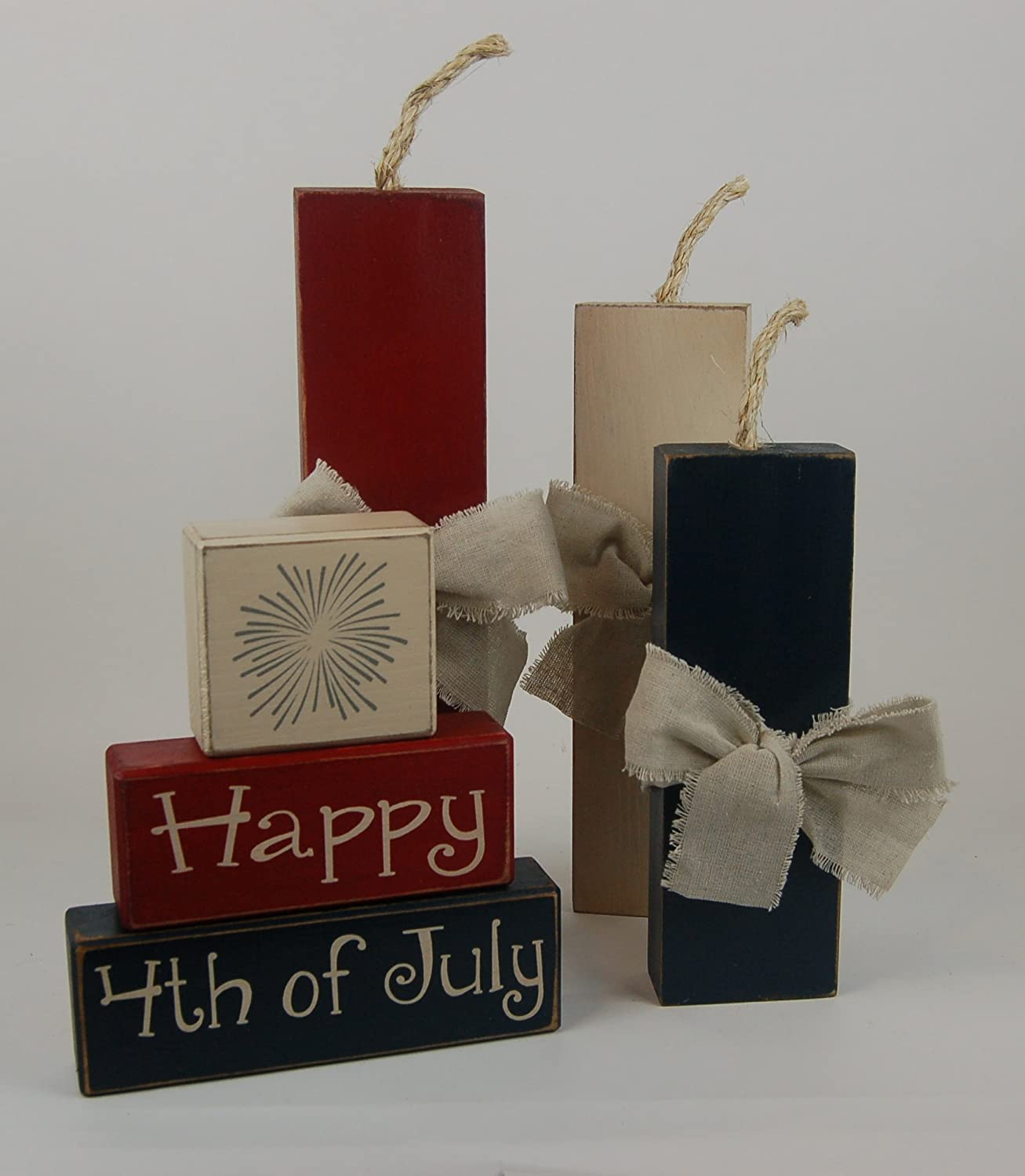Amazon Com Fireworks Happy 4th Of July Firecrackers Americana Decor Primitive Country Distressed Wood Stacking Sign Blocks Seasonal Holiday America Fourth Of July 4th Of July Americana Home Decor Handmade