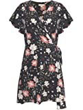 LaVieLente Women's Floral Patterned Sleeveless V-Neck Wrapping Dress