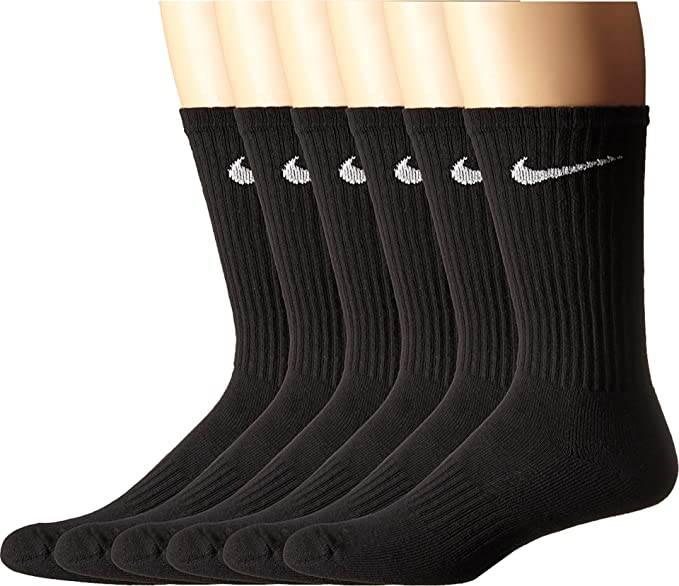 adbfe598f NIKE Unisex Performance Cushion Crew Socks with Bag (6 Pairs), Black/White