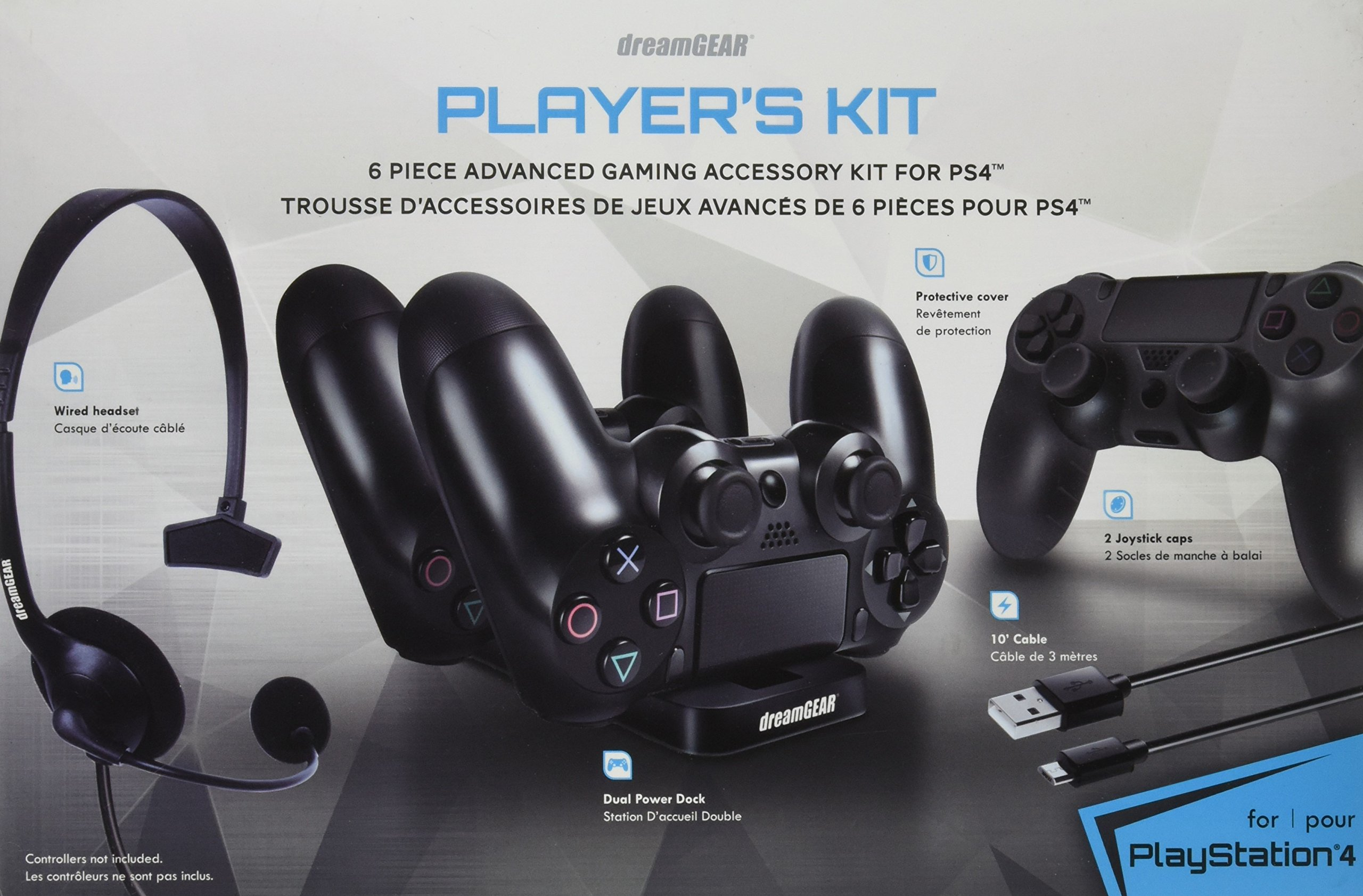 dreamGEAR – Player's Kit– includes charge dock/sync cable/headset/silicone controller cover – for PlayStation 4 by dreamGEAR