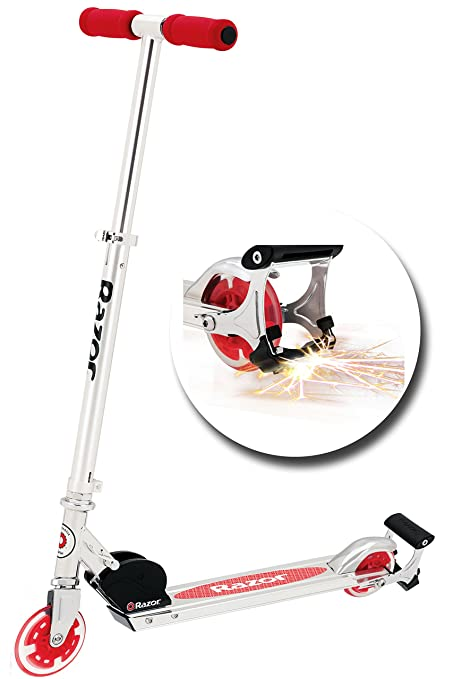 Amazon Com Razor Spark Kick Scooter With Light Up Wheels Red