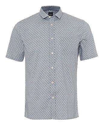 a86b7fc2 BOSS Hugo Orange Mens Erumba Short Sleeved Shirt, Banana Leaf Print Blue  Shirt: Amazon.co.uk: Clothing