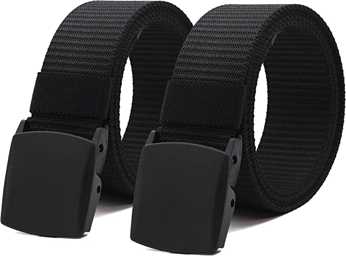2 Pack Mens Canvas Belts Nylon Military Tactical Web With Plastic Buckle Style