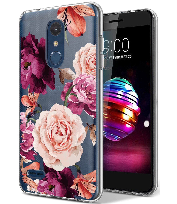 LG K10 2018 Case, LG K30 Case with Flowers BAISRKE Slim Shockproof Clear Floral Pattern Soft Flexible TPU Back Cover for LG K30 (X410), LG K10 2018 (MS425)[Purple Pink]