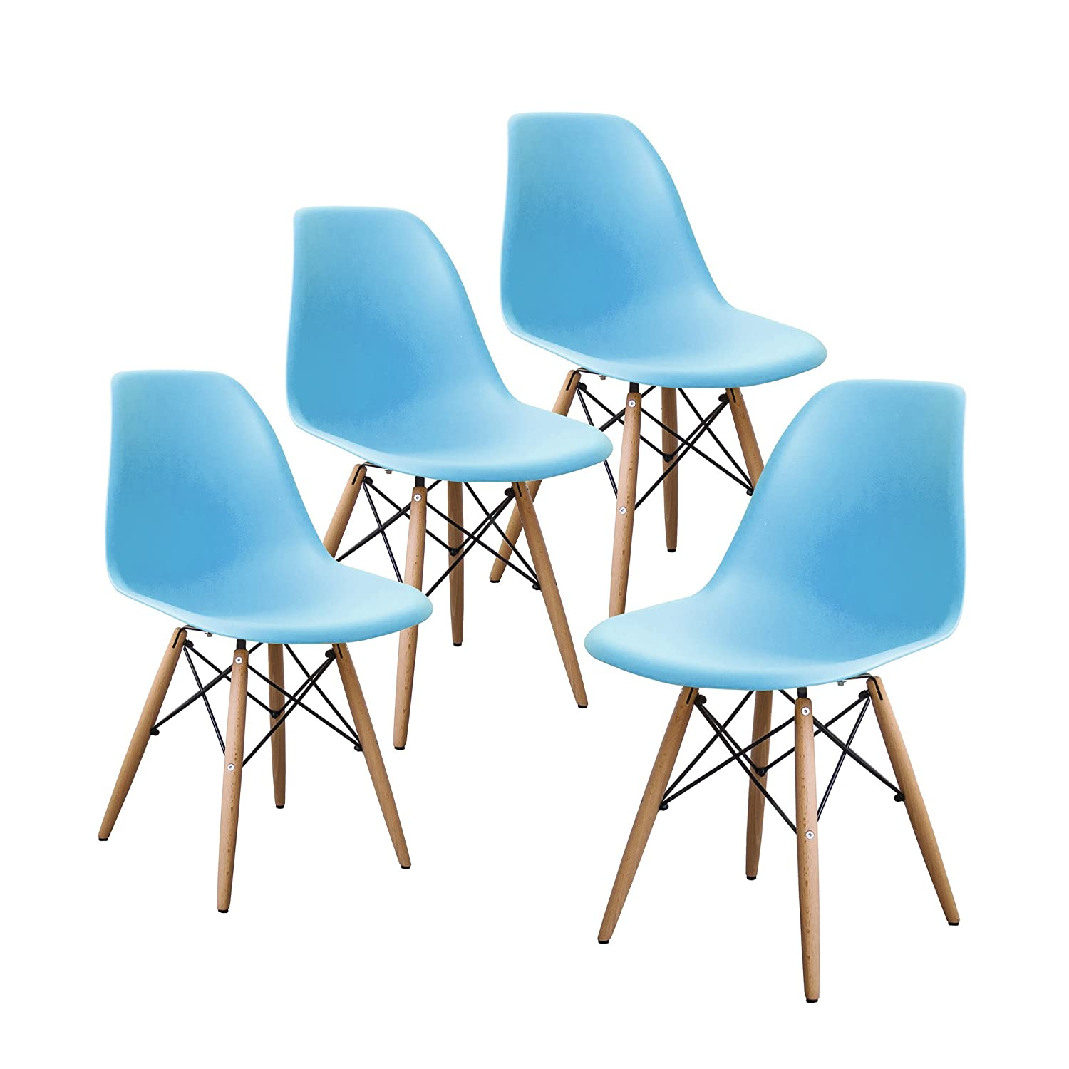 Buschman Set of Four Blue Eames-Style Mid Century Modern Dining Room Wooden Legs Chairs