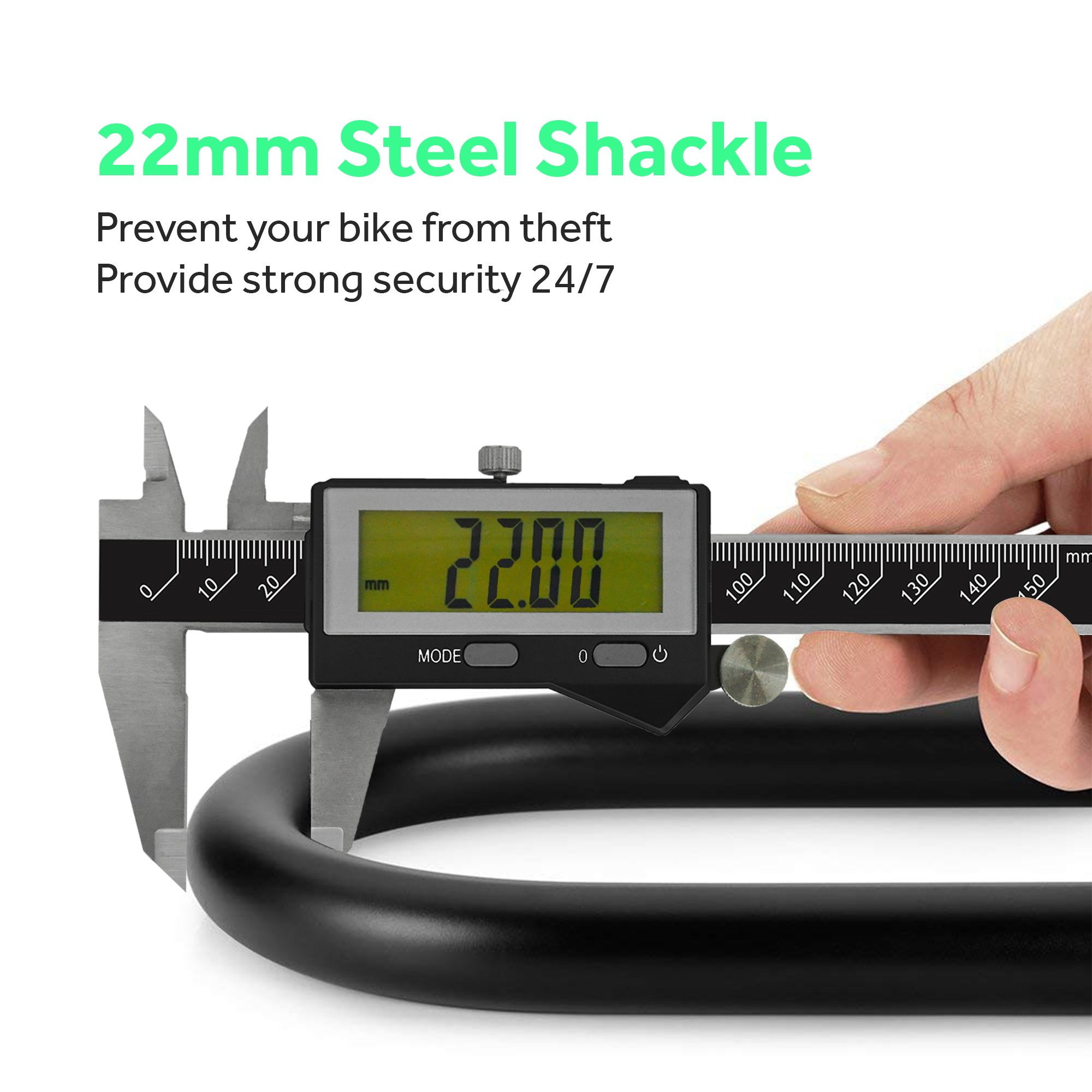 White Rock Gear Bike U Lock and Cable - Heavy Duty 16mm Bicycle Lock with 45'' Steel Flex Cable and 3 Keys + Mounting Bracket - Durable and Anti-Theft by White Rock Gear (Image #4)