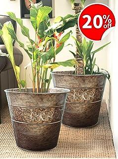 Flower Pots Planters 13 Inch Set 2, Outdoor And Indoor, Galvanized Gardening  Pots For