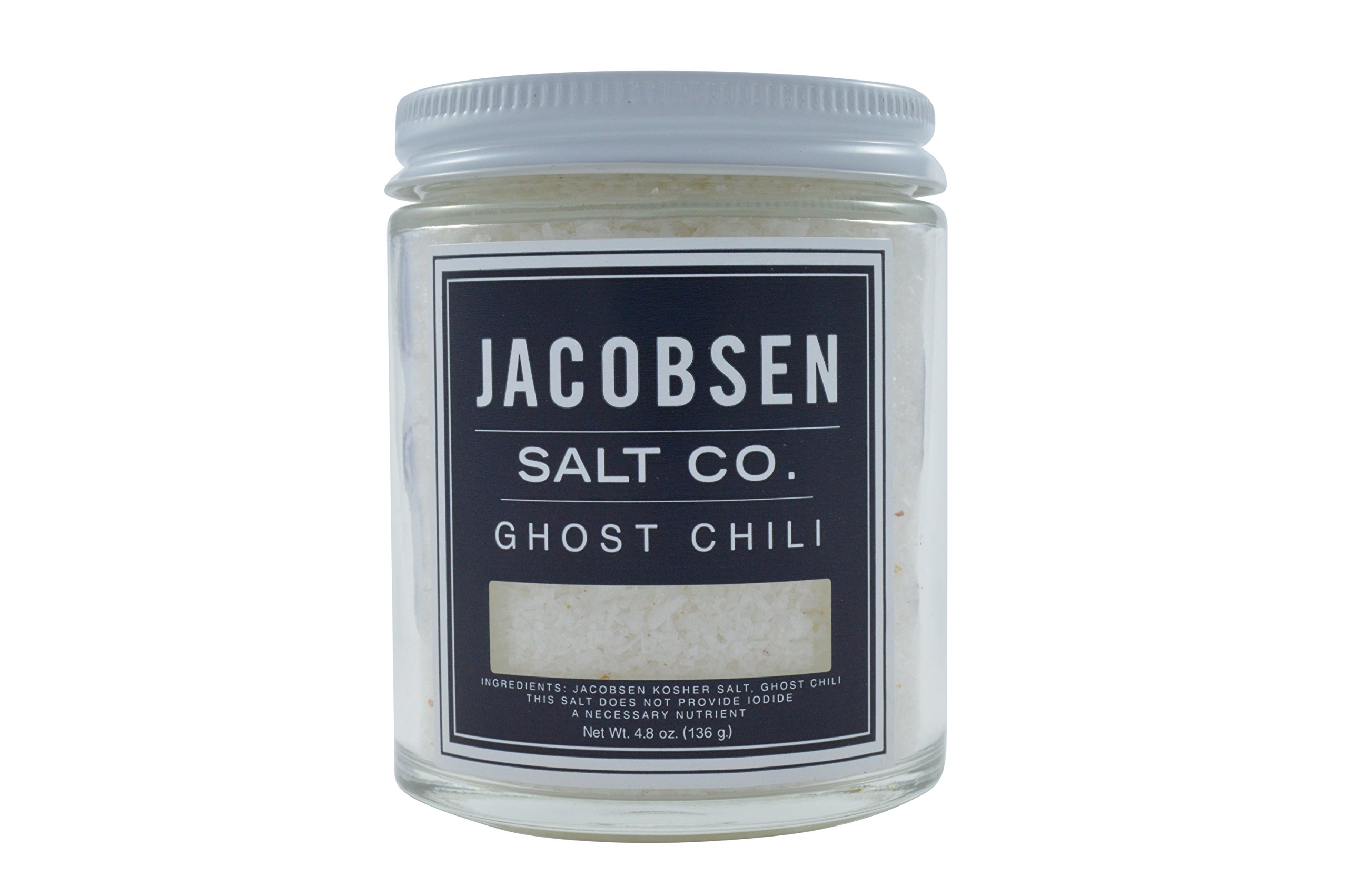Jacobsen Salt Co, Ghost Chili Flavor, Gourmet Infused Sea Salt, Hand-Harvested in Netarts Bay, OR, Made in the USA, 4.8 Oz (136 g) Jar