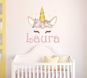 Personalized Unicorn Name Wall Decal - Unicorn Room Decor - Nursery Wall Decals - Unicorn Wall Decor Mural Sticker
