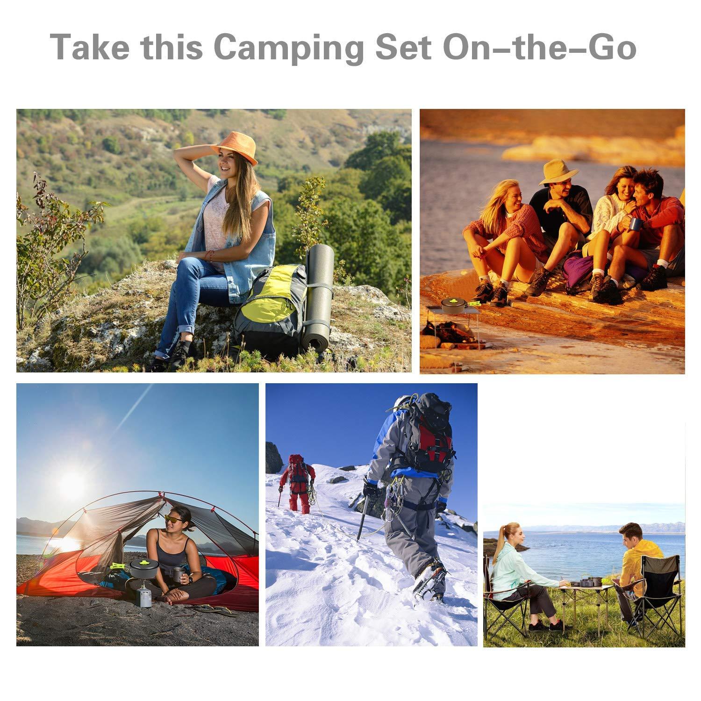 BelleStyle Set Pentole Campeggio 1-2 Persone Leggero Antiaderente Portatile Pentola da Campeggio Set di Pentole da Campeggio per Allaperto Campeggio Escursionismo Picnic