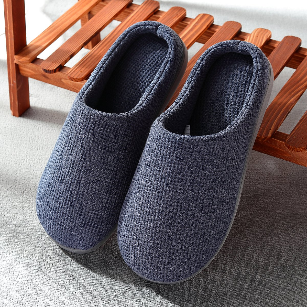 Harrms Mens House Slippers Indoor Outdoor Slip On Shoes Memory Foam Anti-Slip Two-Tone Mules Clogs for Men