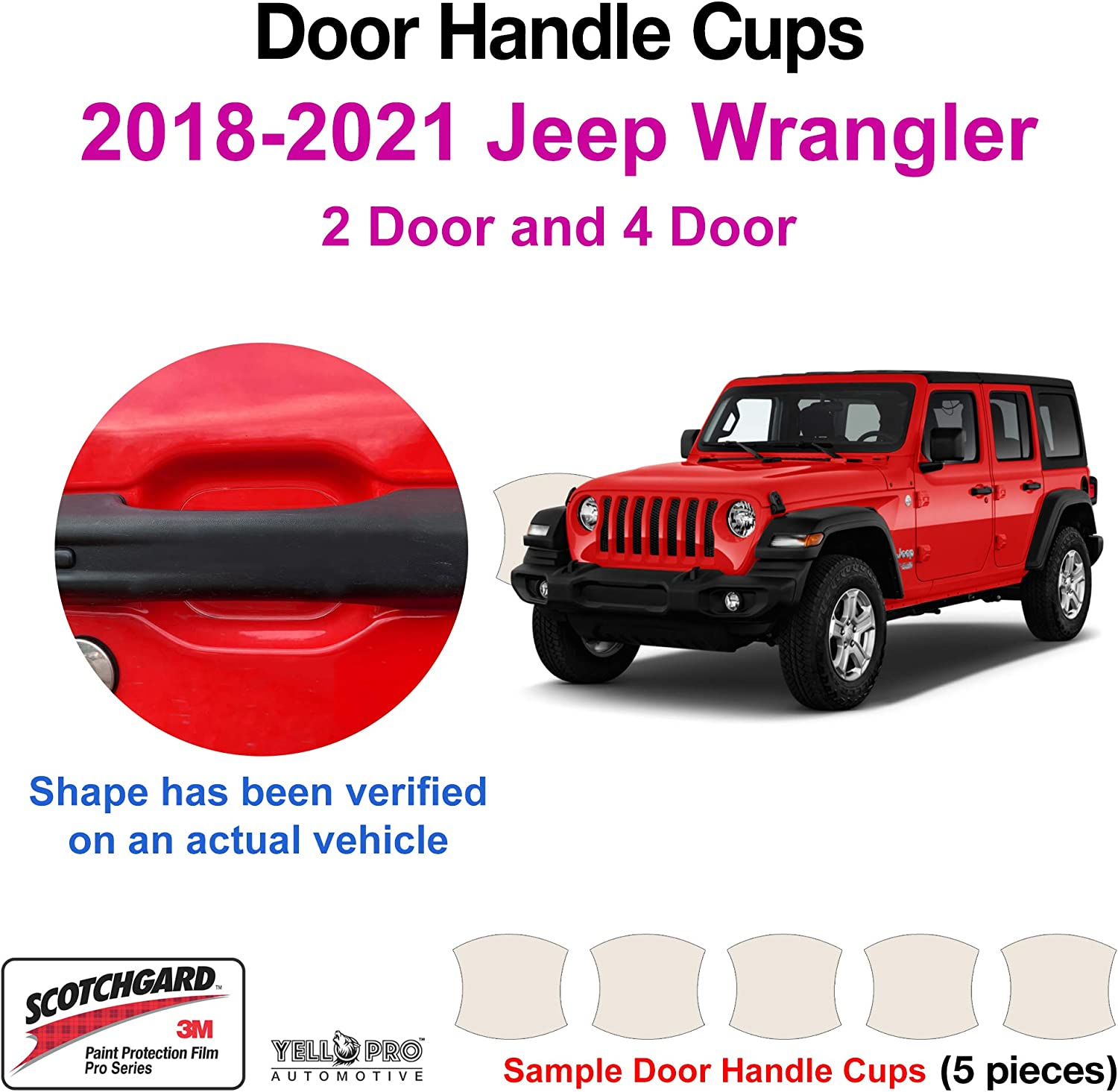 YelloPro Custom Fit Door Handle Cup 3M Scotchgard Anti Scratch Clear Bra Paint Protector Film Cover Self Healing Guard Kit for 2019 2020 2021 Ford Ranger