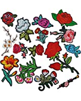 Satkago Iron Patches,15Pcs Flower Embroidery Patches Iron On or Sew On Patches Applique for Jackets Backpacks T-shirt Jeans Skirt Vests Scarf Hat Clothes
